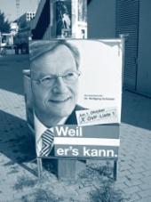 """Plakát Rakouské lidové strany se sloganem """"protože on to umí"""""""
