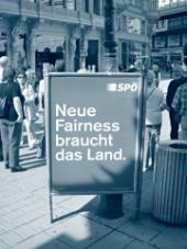 """Plakát Sociálnědemokratické strany Rakouska s mottem: """"Země potřebuje novou spravedlnost""""."""