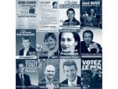 Sada oficiálních plakátů dvanácti prezidentských kandidátů.