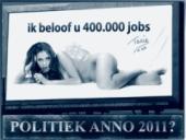 Recesistická strana Ne se pokusila upoutat pozornost plakátem se svou obnaženou političkou, která nabídla uspokojit 80 tisíc mužů.