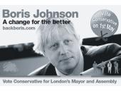 """Základní vizuál kampaně Borise Johnsona. Veselé pastelové barvy jsou v souladu s novou """"mladší"""" image konzervativců."""