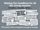 """""""Enough Is Enough"""". Osobní kampaň proti konkurenčnímu kandidátovi. Toto pojetí s útržky novinových titulků použili konzervativci již v roce 2005. Podklad je rudý."""