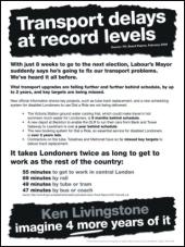 """Ukázka jednoho z motivů v černobílém """"plakátovém"""" stylu. Představte si další čtyři roky s Kenem Livingstonem. Heslo je stejné jako v kampani konzervativců z roku 2005 – jen místo Livingstona byl tenkrát T. Blair."""