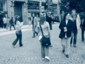 Při rozdávání letáků na Václavském náměstí